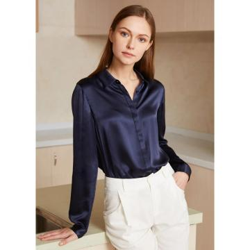 Basic Concealed Placket Silk Shirt Blouse for Women 100% Pure Silk Long Sleeves Cool Smooth Tops