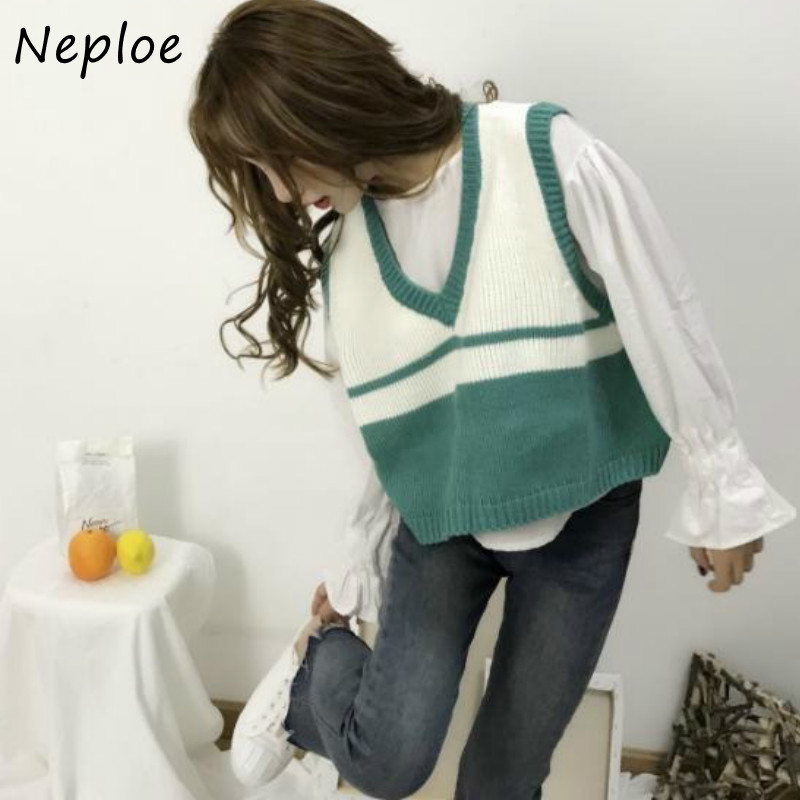 Neploe 2021 V-neck Sweet Preppy Style Sweater Women Fresh Peach Strawberry Embroidery Pullovers Panelled Patchwork Knit Tops