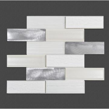 Bedroom White Glass Irregular strip Mosaic Mixed Tiles
