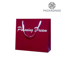 Red glossy waterproof paper shopping bag retail