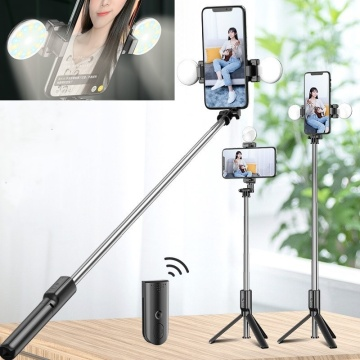 Tongdaytech Portable Bluetooth Phone Selfie Stick With Ring Fill Light Photo Foldable Tripod For Iphone Xiaomi Video Live Studio