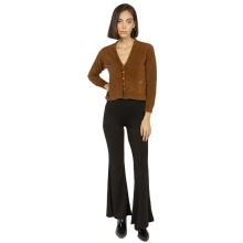 Black High Waist Flared Pants Women