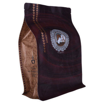 Brown Kraft Foil Flat Bottom Bag Pouch With Valve