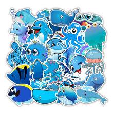 49pcs/lset Waterproof Cute Cartoon Ocean Animals Stickers vinyl refrigerator Suitcase Decoration For MacBook/HP Laptop Decals