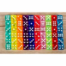 20PCS 6 Sided Portable Table Games Dice 14MM Acrylic Round Corner Board Game Dice Party Gambling Game Cubes Digital Dices