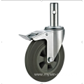 125mm threaded stem   European industrial rubber  swivel caster with  brake