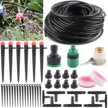 DIY 4/7mm Hose 5~50M Watering System Garden Drip Irrigation Kit Adjustable Ground Dripper Plant Self 8Hole Dripper Watering Kits