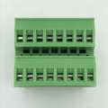 Double row straight angle pin pluggable terminal block