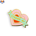 Personalized heart shaped pin badges for jacket