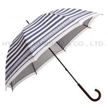 Navy Stripe Women's Straight Dome Umbrella With Lace