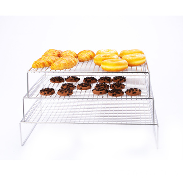 2021 Bakery kitchen metal stainless steel cake cookies baking and draining foldable 3-layer cooling rack
