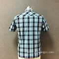 Men's cotton checked yarn dyed short sleeves shirt