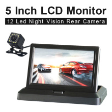 5 Inch 800*480 TFT LCD Foldable Car Monitor Reverse Parking And 12 LED Night Vision Rear View Camera