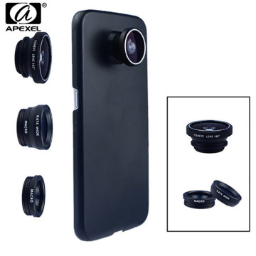 Phone Camera Lens 180 Fish eye Wide Macro Lens With Case Cover For Samsung Galaxy s8 plus s6 edge S5 note 3 in 1 mini Lenses kit