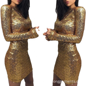 Women Sexy Gold Sequins Short Tight Fitted Dresses