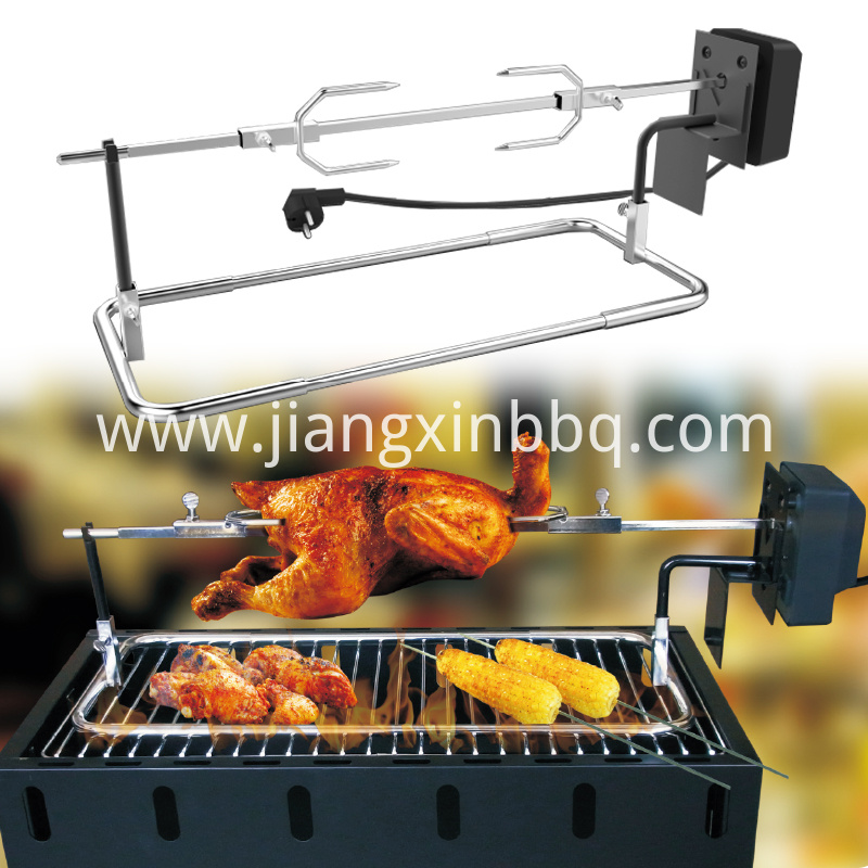 Universal Stainless Steel Rotisserie Kit Fits Gas Grills Burning View
