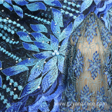 Blue Beaded Pearl lace Dubai Lace Fabric