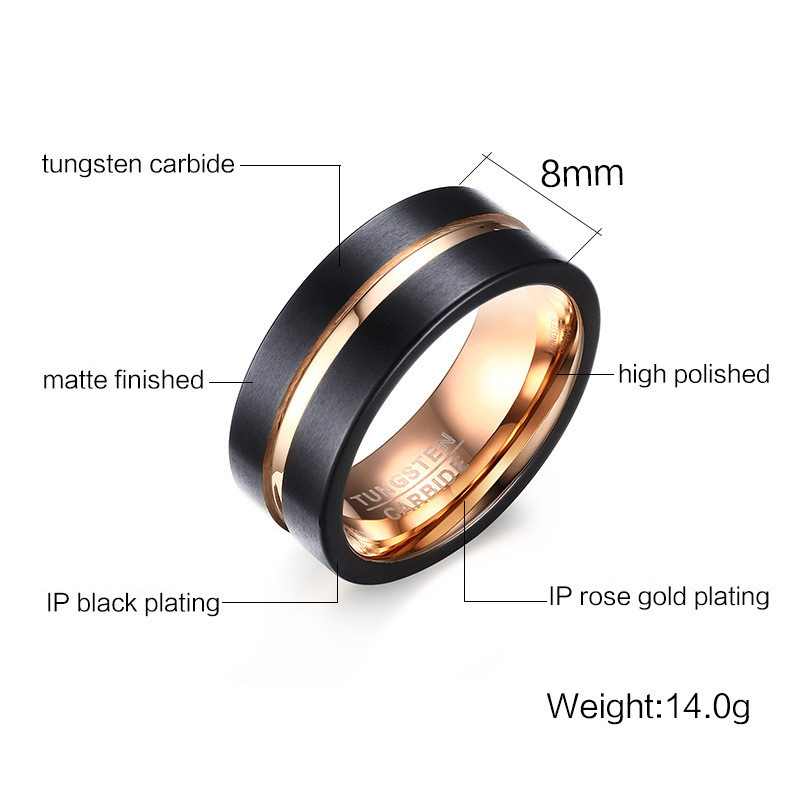 black and rose gold tungsten ring