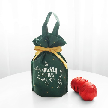 Christmas Handle Drawstring Gift Bags With Golden Ribbon