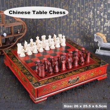 32Pcs/Set Wood Chess Chinese Retro Terracotta Chessman Chess Wood Do old Carving Resin Chessman Birthday Christmas Gift