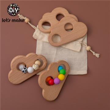 Let's Make Colorful Cloud Baby Rattle Toys Dream Safe Wooden Toys DIY Crochet Rattle Soother Bracelet Teether Set Infant Gift