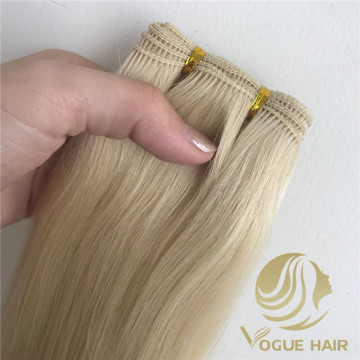 Blonde color hand tied hair extensions