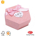Custom hexagon cardboard gift box with ribbon