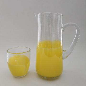 Glass water pitcher with yellow color bottom