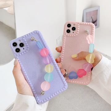 Fresh Korea Cute Candy Color Love heart Bracelet Phone case for iphone X XR XS 11 12mini pro MAX 7 8 plus back soft cover fundas