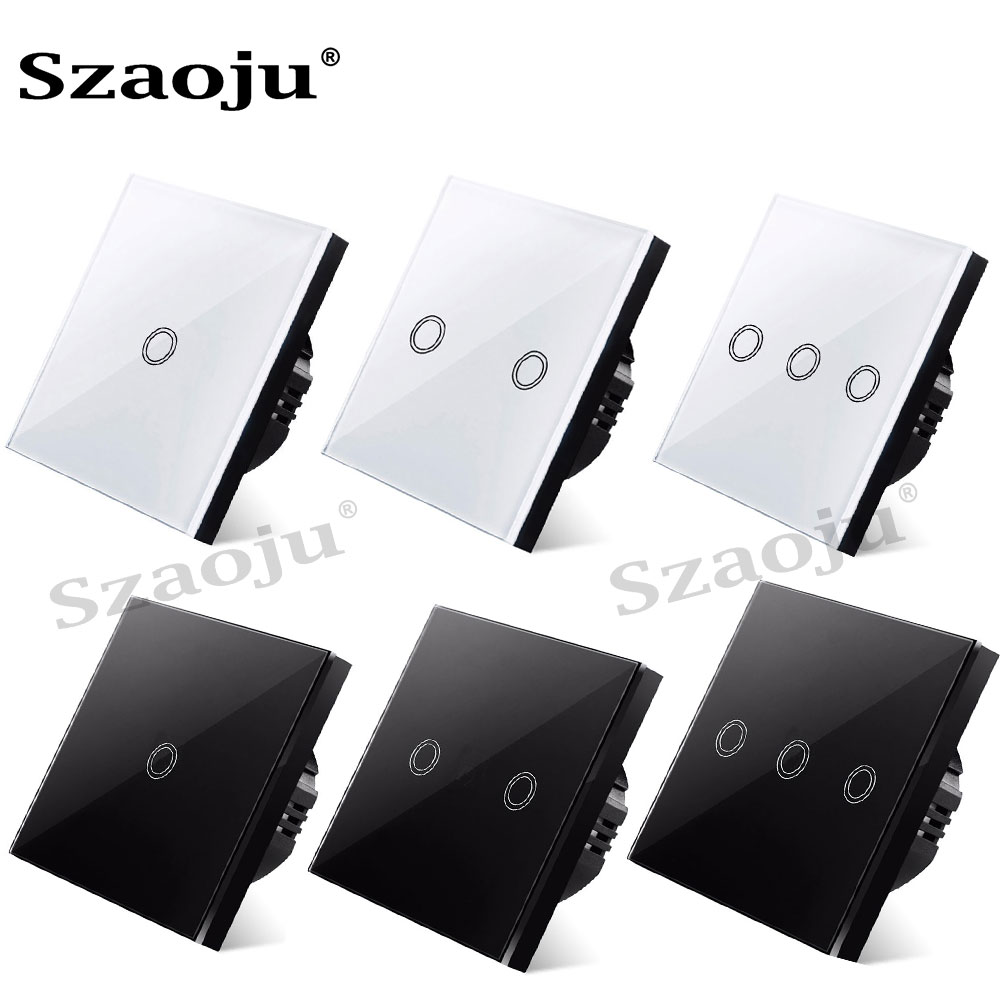 EU standard wall touch light switch,Touch Switch wall power sensor switch, white crystal glass panel, with LED backlight, AC220V