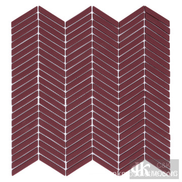 Matte Red Color Glass Mosaic Accent Wall Tile