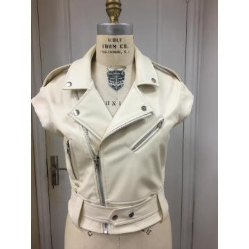 Women's Faux Leather Moto Vet Jacket