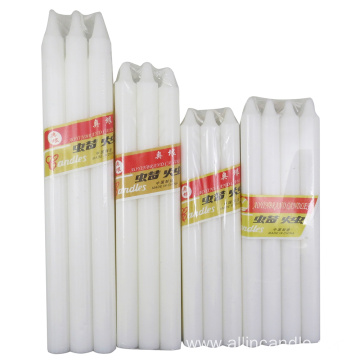 Long burning multi size white stick candles