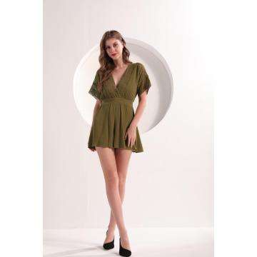 Women's Olive Color Short Sleeve Romper