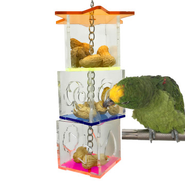 Pet Products Chewing Thing Supply Pet Bird Acrylic Accessories Foraging Bird Macaw Cockatoos Birds Food Storage Hanging Toys