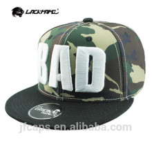 BAD digital embroidery camo snapback and baseball cap