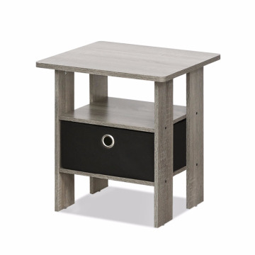 French Oak Grey black Small Bedside Table Bedroom Night Stand with Bin Drawer