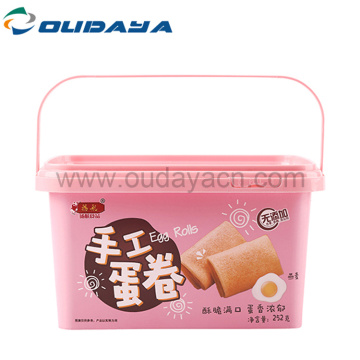 eco friendly IML candies plastic cookie box with handle