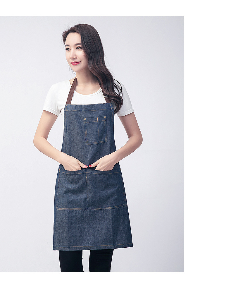 Denim apron hanging neck blue denim custom LOGO (1)