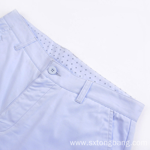 Cotton Casual Chino Shorts With Welt Pockets