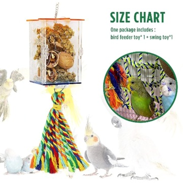 Bird Foraging Toys Parrot Feeder Intelligence Cage Acrylic Food Box Swing Toys Millet Container for Cockatiel Conure