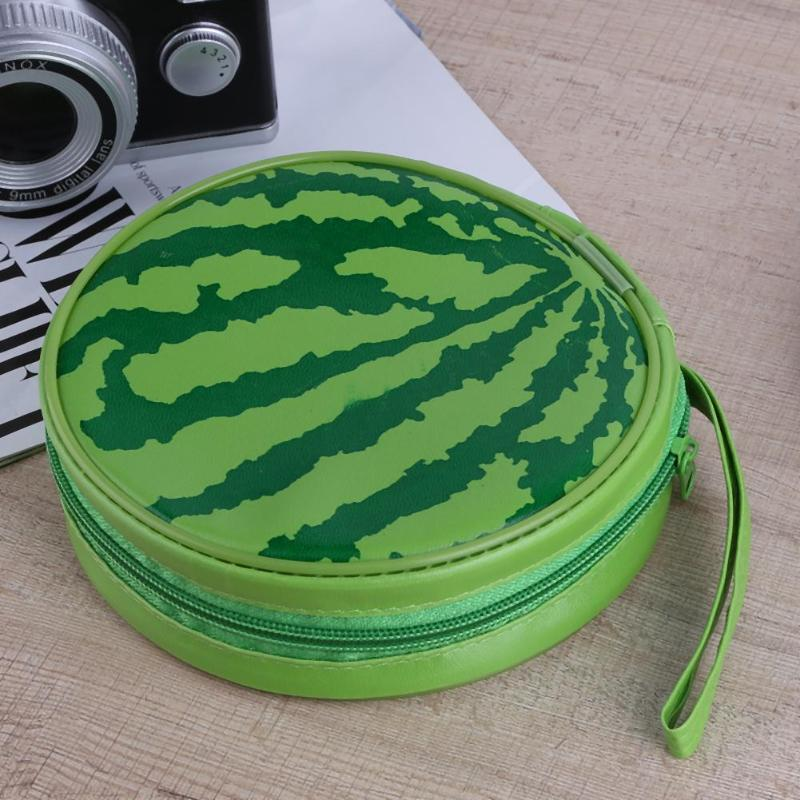 Portable Watermelon Pattern 24pcs Disc Capacity DVD CD Storage Case Holder Carry Case Organizer Sleeve Wallet Cover Bag Box New