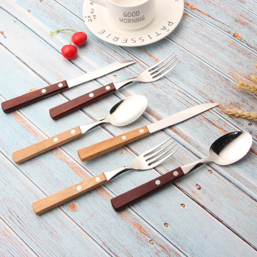 Stainless Steel Restaurant Flatware Set With Wooden Handle