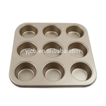 Quality 9 Cups Muffin Cup Golden Cake Mould