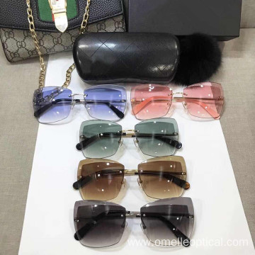 Colorful Rimless Square Sunglasses For Women
