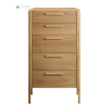 Nordic Solid Wood Light Walnut 5 Drawers Chest