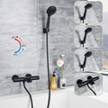 Black Thermostatic Bathroom Hand Shower Faucet Mixer