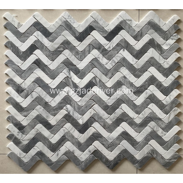 Grey and White Stone Mosaic Wall Cladding