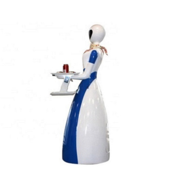 Sky Blue And White Cafe Robot Waiter