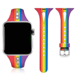 Custom Rainbow Slim Narrow Silicone Apple Watch Band